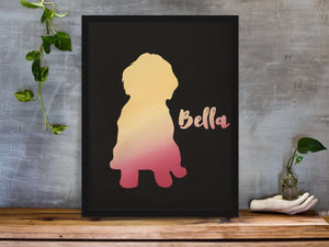 Personalized Foil Print Silhouette Of Your Shih Tzu
