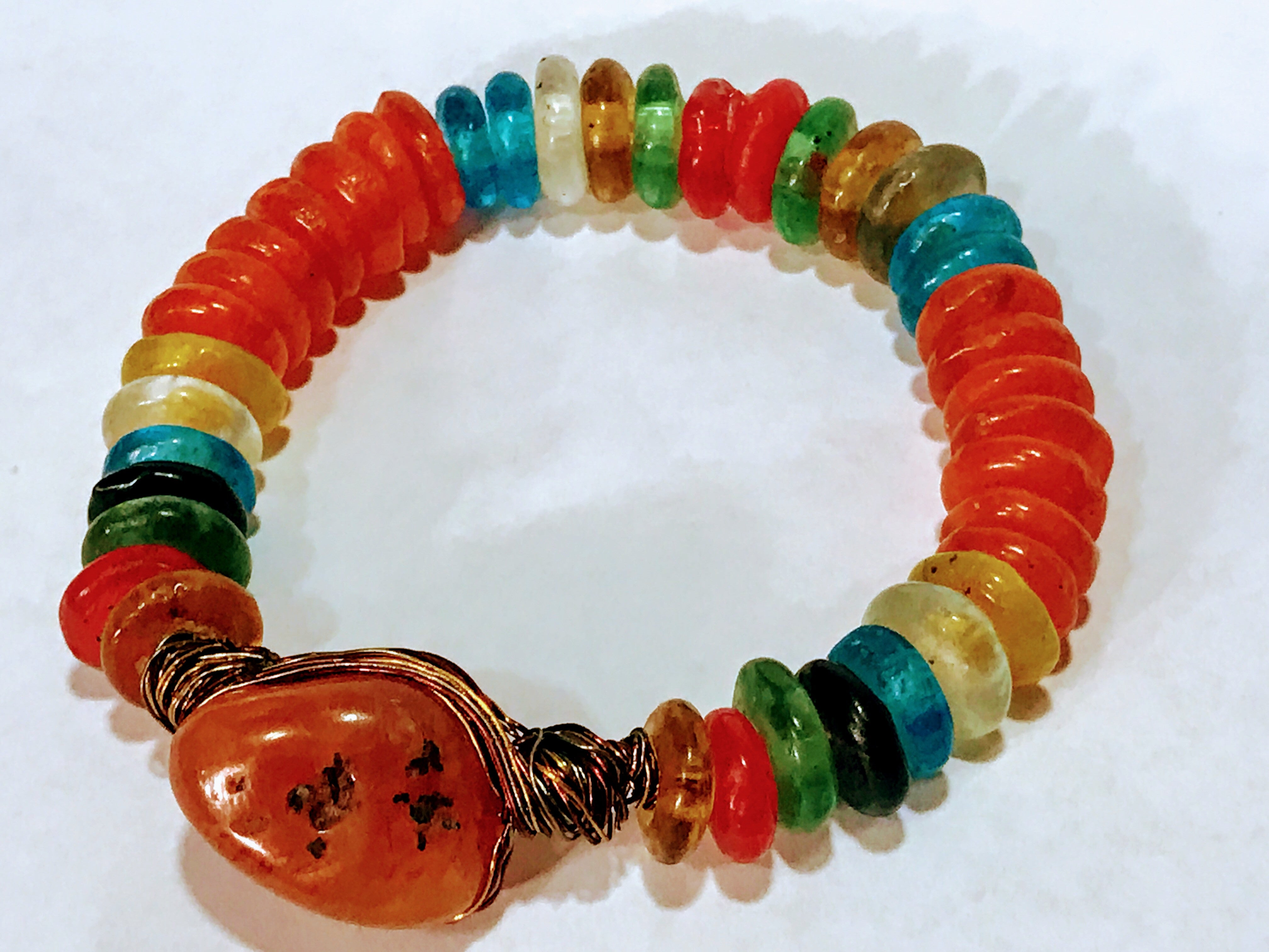 African Guana Beads and Carnelian