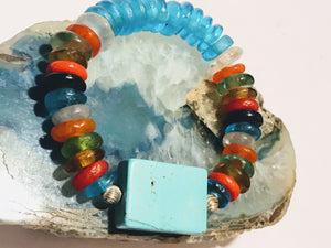 African Ghana Beads and Turquoise Stretch Bracelet