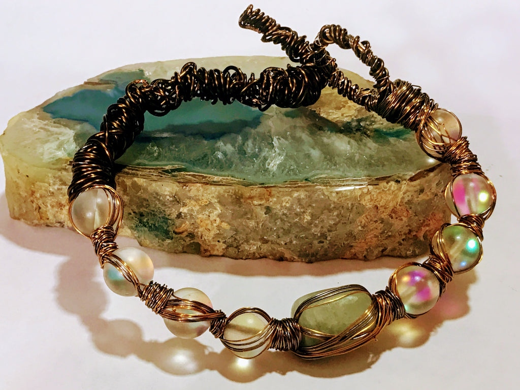 Moonstone, Morganite and Bronze Wire Wrapped Bracelet