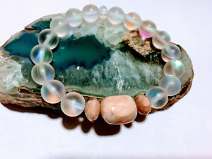 Moonstone, Sunstone and Morganite Stretch Bracelet