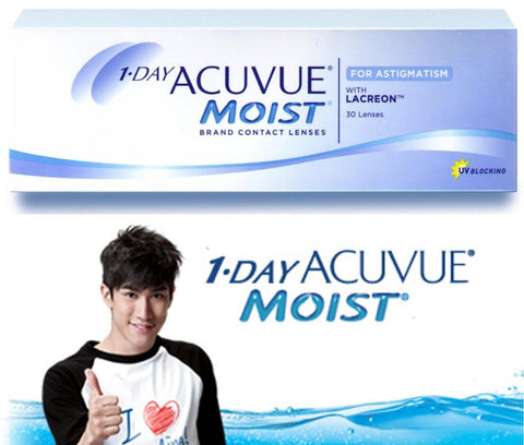 1 Day Acuvue Moist for Astigmatism (Toric) Daily Disposable Contact Lenses 30pk from Johnson & Johnson | anytimecontacts.com.au