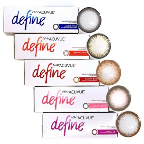 1 DAY ACUVUE DEFINE 30pk prescription coloured daily disposable soft contact lenses | anytimecontacts.com.au