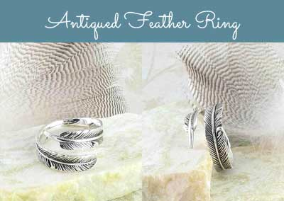 Antiqued feather ring