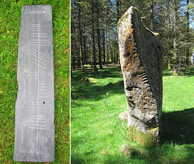 Examples of Ogham writing