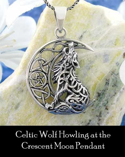 Celtic Wolf Howling at the Crescent Moon Pendant