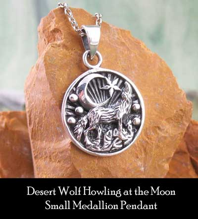 Desert Wolf Howling at the Moon Small Medallion Pendant