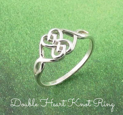Celtic love knot double hearts ring
