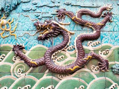 Dragon on water mural - China