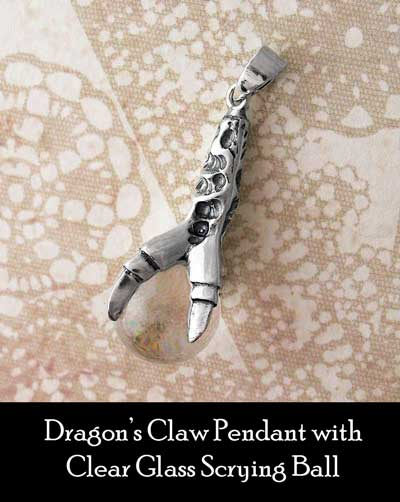 dragon's claw pendant with clear glass scrying ball