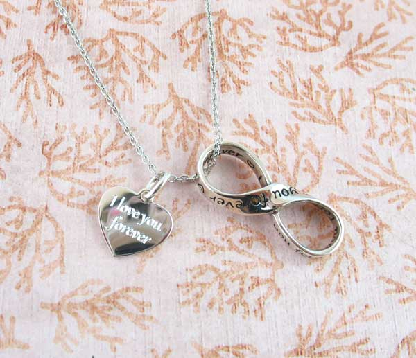 I love you forever infinity pendant with engravable charm