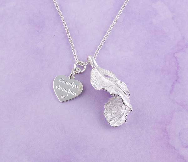 feather pendant with engravable charm