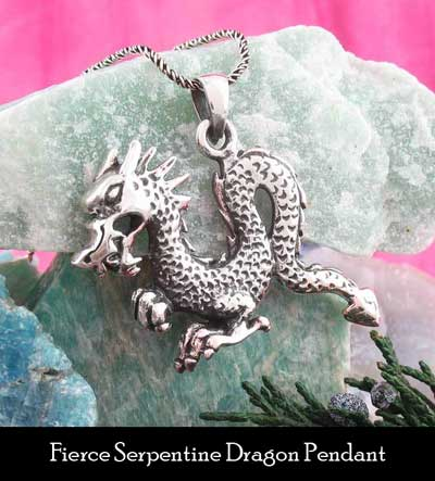 fierce serpentine dragon pendant