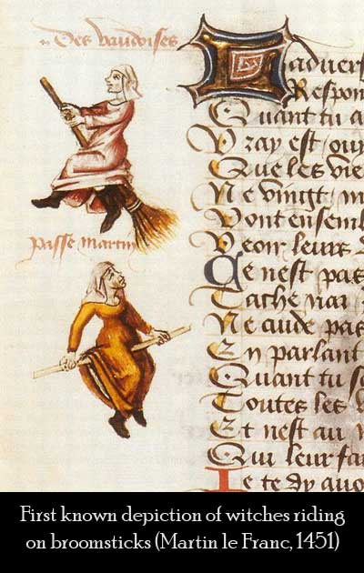 First known depiction of witches flying on broomsticks