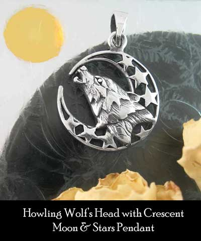 Howling wolf's head with crescent moon stars pendant