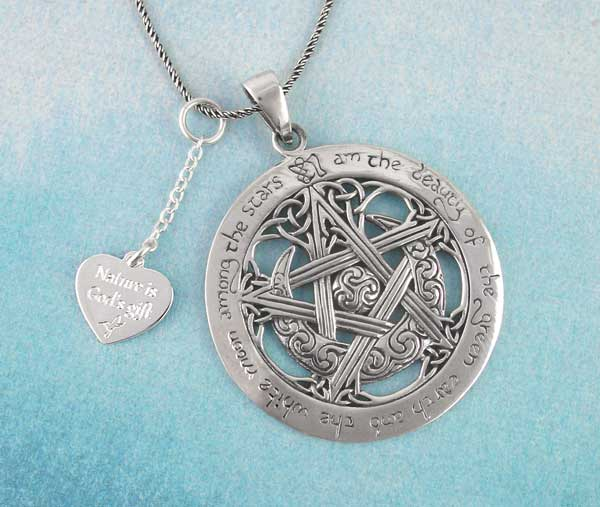 i am the beauty of the green earth moon pentacle with engravable charm