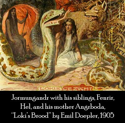 Jormungandr with Fenrir and Hel, Loki's Brood, Norse Dragon Symbolism