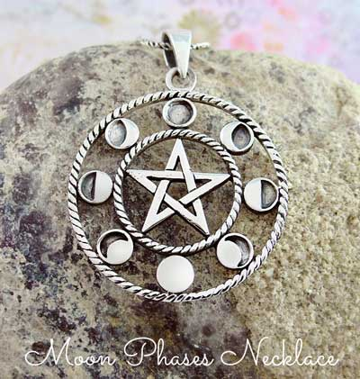 Moon Phases Pentagram Necklace
