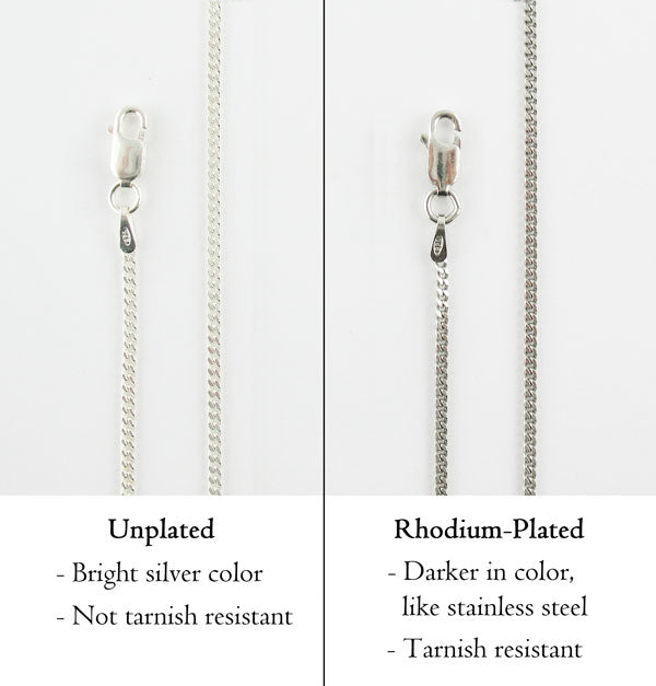 unplated vs. rhodium plated sterling silver