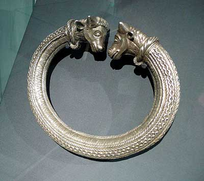 Silver Celtic torc with animal heads