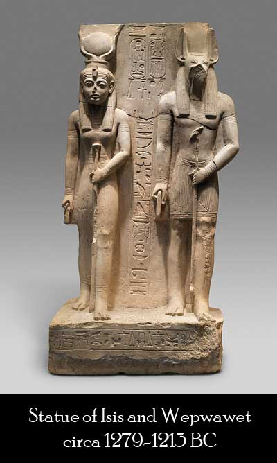 Statue of Isis and Wepwawet