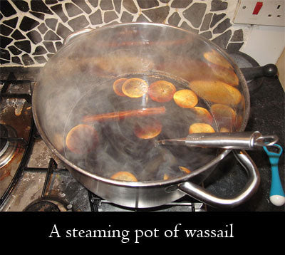Steaming pot of wassail