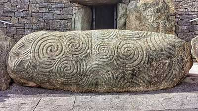 Celtic spiral knot, triskele or triskelion at Newgrange monument, Ireland