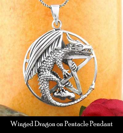 winged dragon pentacle pendant