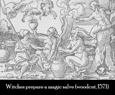 Witches making a magic salve or flying ointment out of hallucinogenic herbs