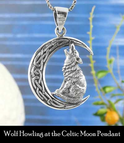 wolf howling at celtic moon pendant