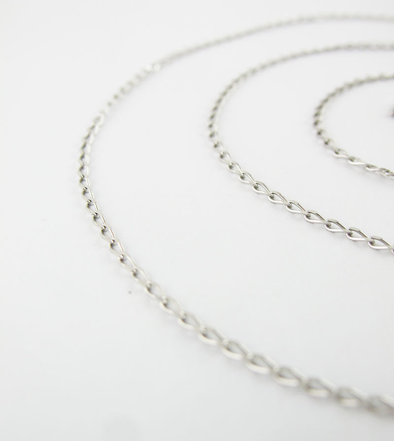 1.2 mm Rhodium-Plated Sterling Silver Long Curb Chain
