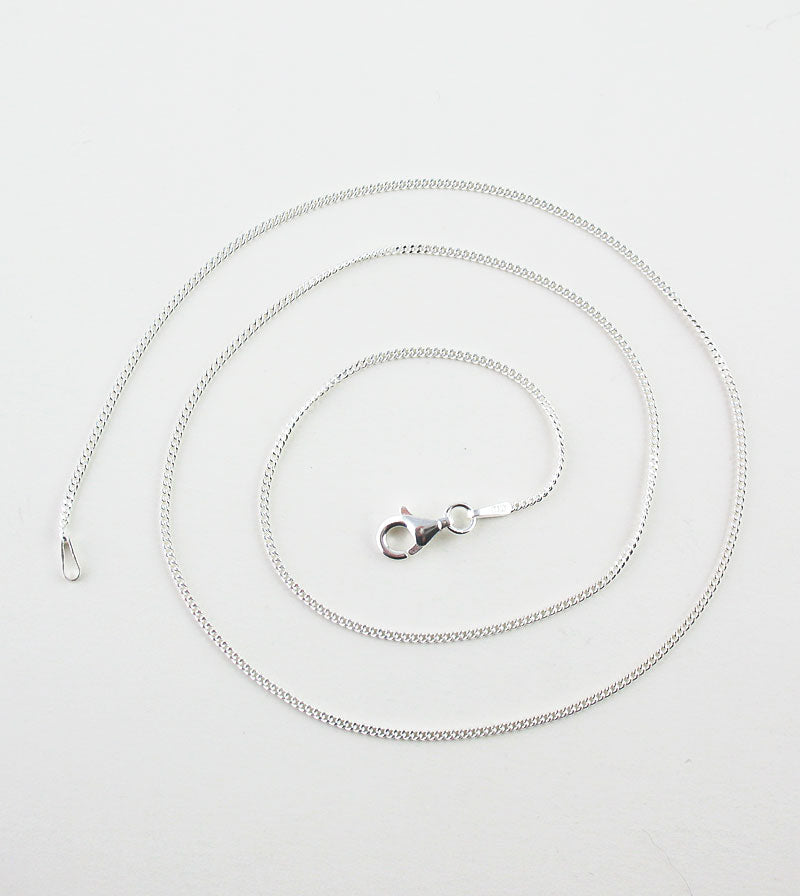 1.2 mm Unplated Sterling Silver Curb Chain