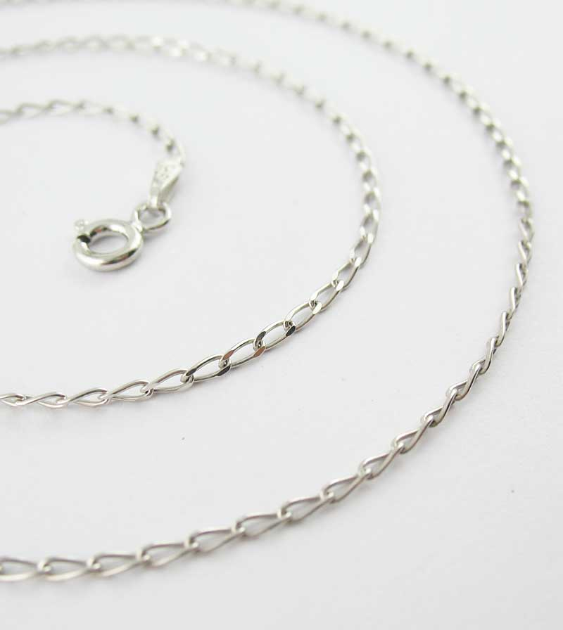 1.4 mm Rhodium-Plated Sterling Silver Long Curb Chain