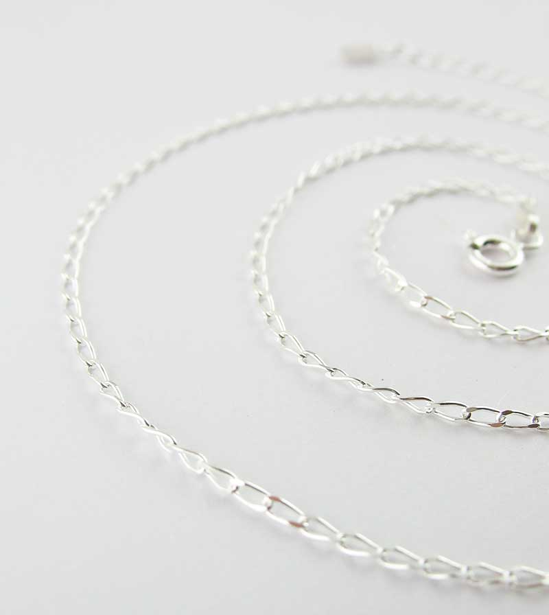 1.4 mm Unplated Sterling Silver Long Curb Chain
