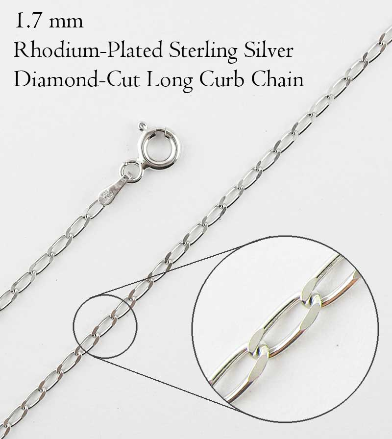 1.7 mm Rhodium-Plated Sterling Silver Long Curb Chain