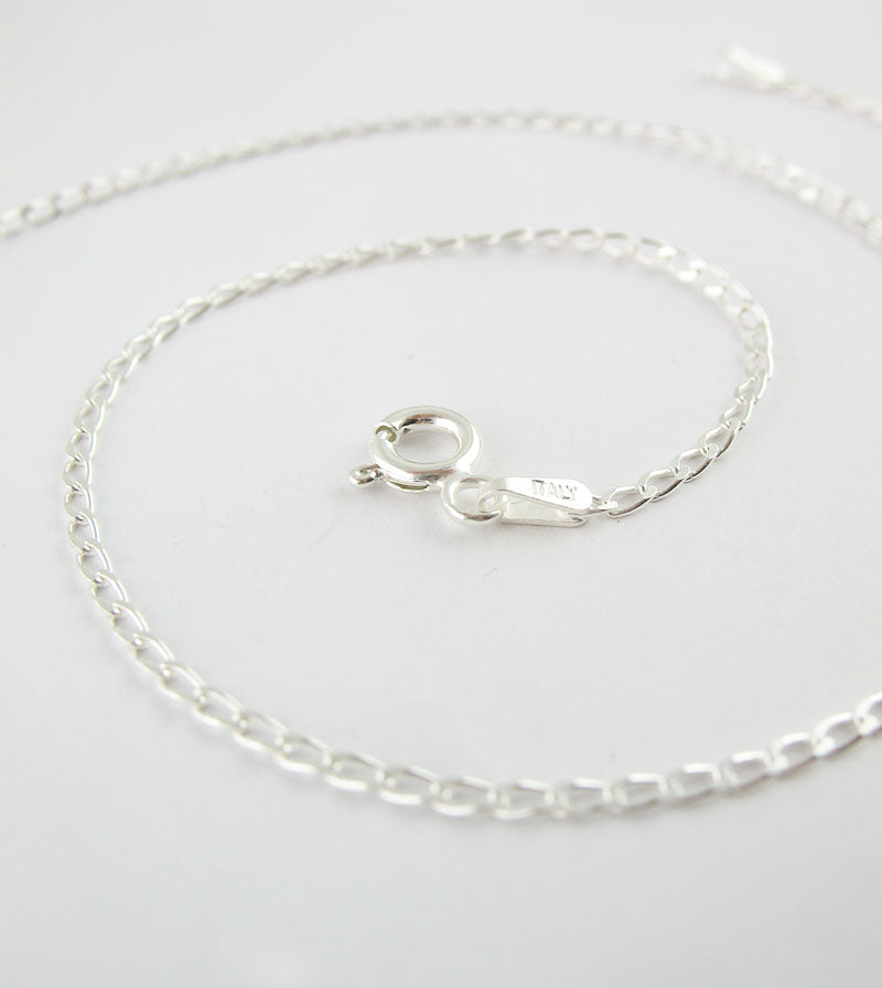 1.7 mm Unplated Sterling Silver Long Curb Chain