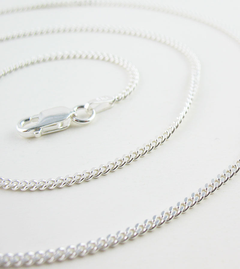 1.8 mm Unplated Sterling Silver Curb Chain