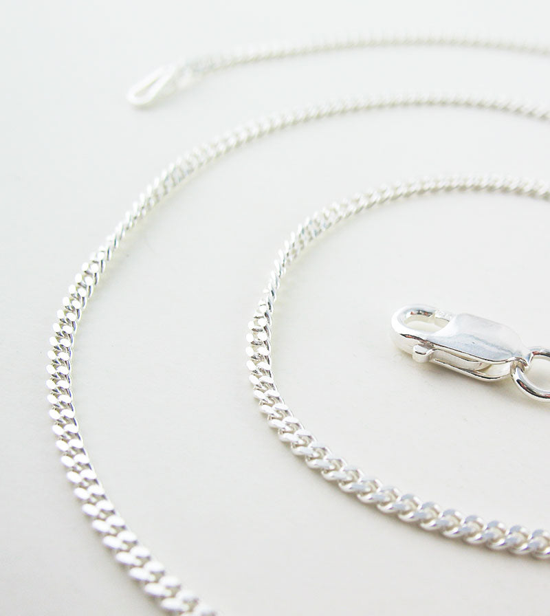 2.1 mm Unplated Sterling Silver Curb Chain