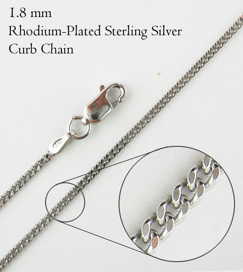 1.8 mm Rhodium-Plated Sterling Silver Curb Chain