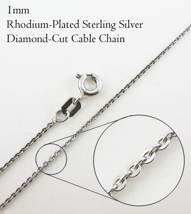 1 mm Rhodium-Plated Sterling Silver Diamond-Cut Cable Chain