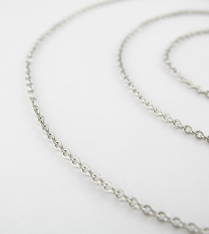 1.2 mm Rhodium-Plated Sterling Silver Simple Cable Chain