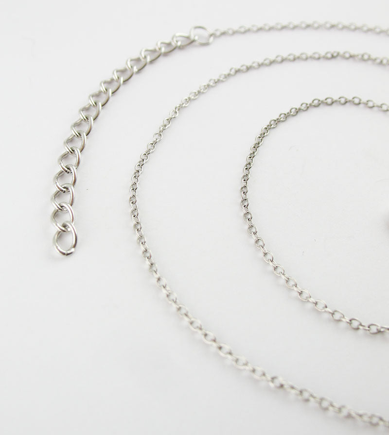 "1 mm Rhodium-Plated Sterling Silver Simple Cable Chain, 16"" w/ 2"" Extender"