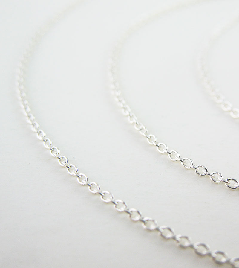 1 mm Unplated Sterling Silver Round Cable Chain