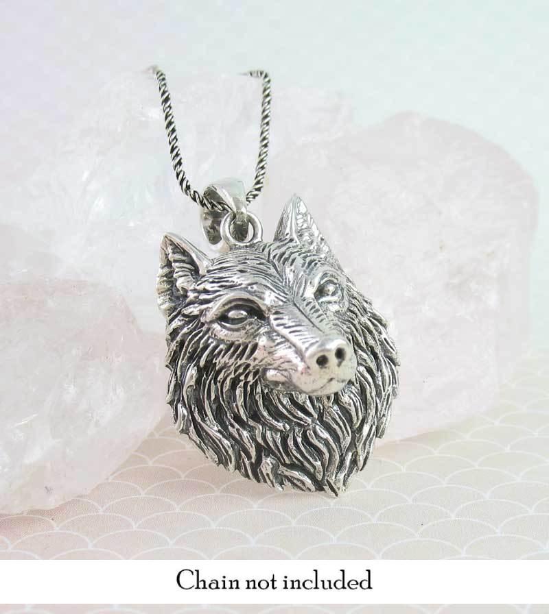 Lifelike 3-D Detailed Wolf Head Necklace Spirit Animal Totem Amulet Sterling Silver
