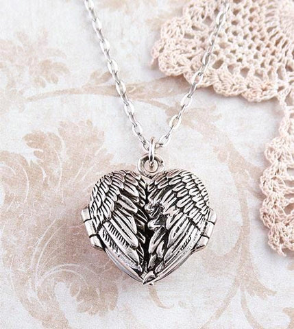 angel wings heart locket necklace sterling silver free shipping