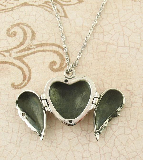 Angel Wings Heart Locket Necklace - Blank Inside - woot & hammy