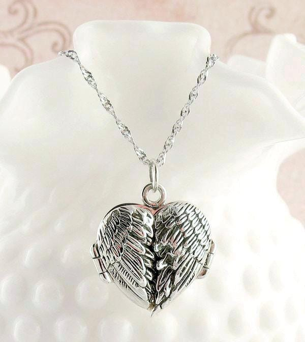 Angel Wings Heart Locket Pendant Necklace Sterling Silver