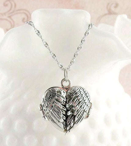 Angel Wings Heart Locket Necklace with Message - woot & hammy