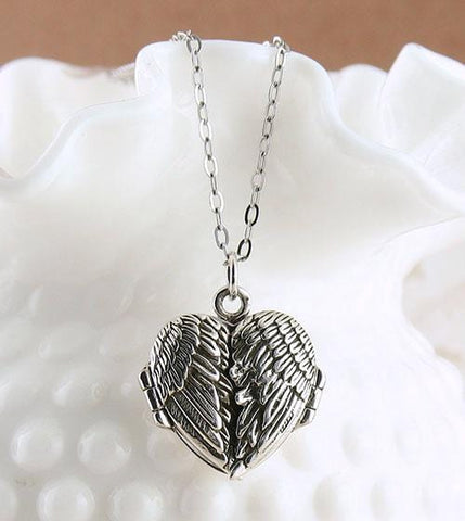 Angel Wings Heart Locket Necklace in Sterling Silver - Blank Inside