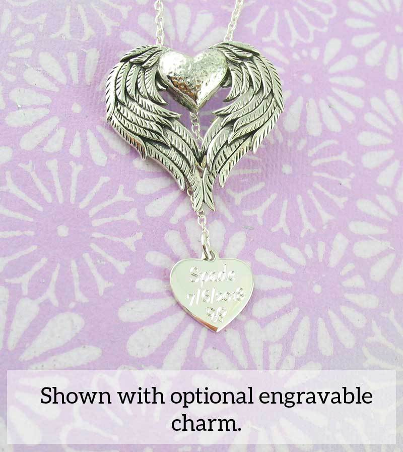 Angel wing heart necklace with engravable charm sterling silver